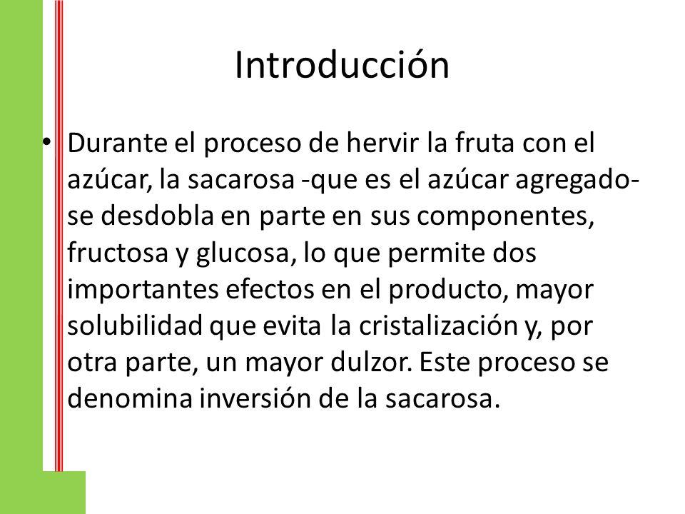 Introducción Durante el proceso de hervir la fruta con el azúcar, la sacarosa -que es el azúcar agregado- se desdobla en parte en sus componentes, fru