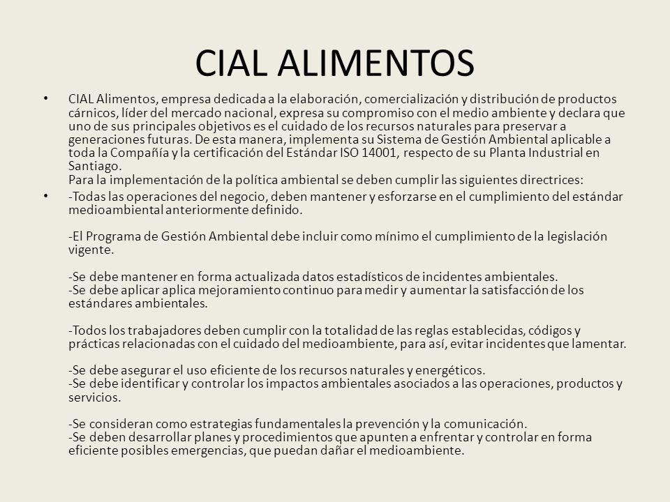 CIAL ALIMENTOS CIAL Alimentos, empresa dedicada a la elaboración, comercialización y distribución de productos cárnicos, líder del mercado nacional, e