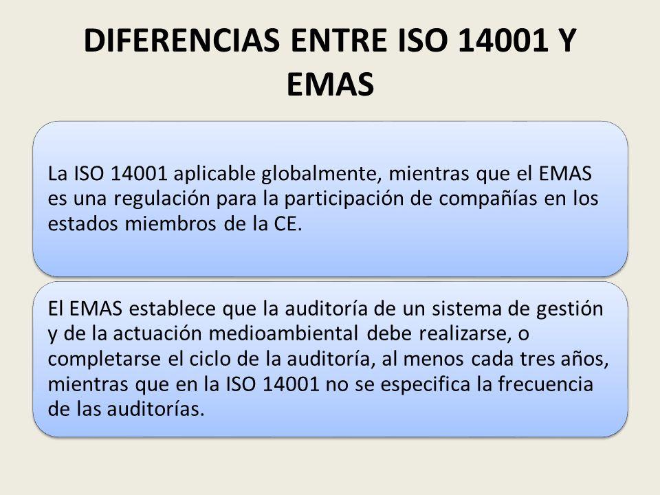 DIFERENCIAS ENTRE ISO 14001 Y EMAS La ISO 14001 aplicable globalmente, mientras que el EMAS es una regulación para la participación de compañías en lo