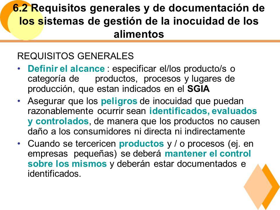 6.2 Requisitos generales y de documentación de los sistemas de gestión de la inocuidad de los alimentos 4.2 Requisitos de Documentación a) Declaración de la Política de la Inocuidad y objetivos b) Documentación requerida por esta Norma Internac.,(procedimientos y registros) c) Documentación requerida por la organización para cumplir con los requisitos de inocuidad alimentaria Deberá existir: Control de Documentos Control de Registros