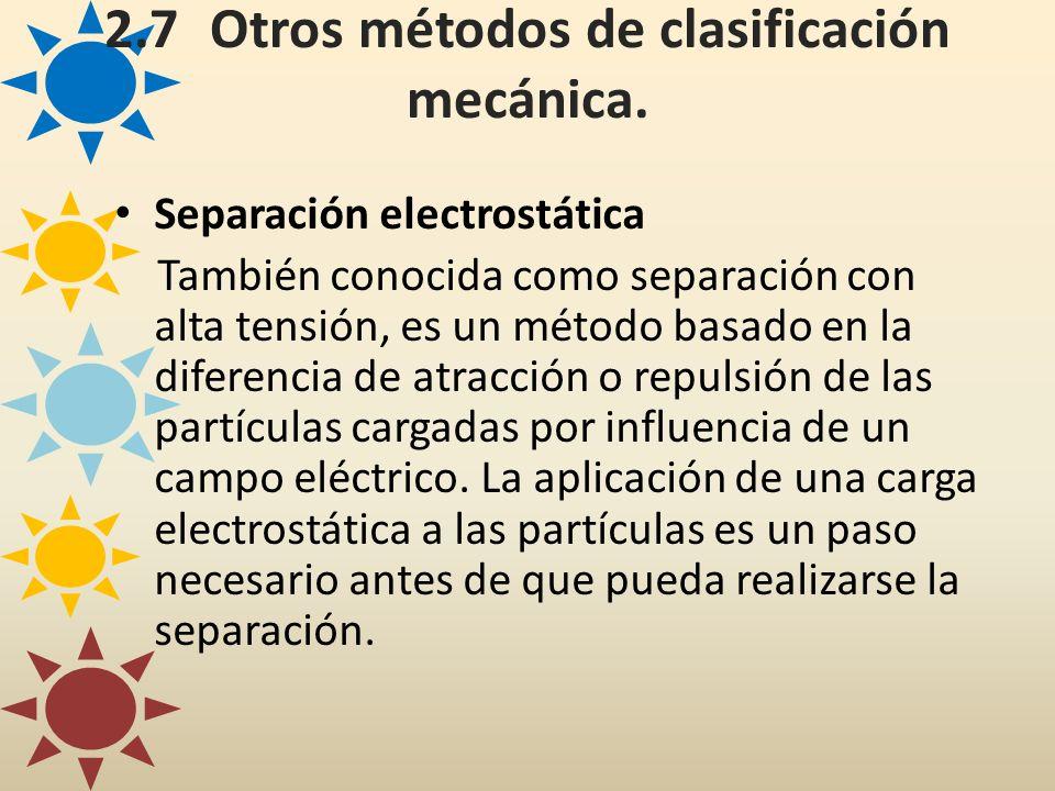 Separación electrostática También conocida como separación con alta tensión, es un método basado en la diferencia de atracción o repulsión de las part