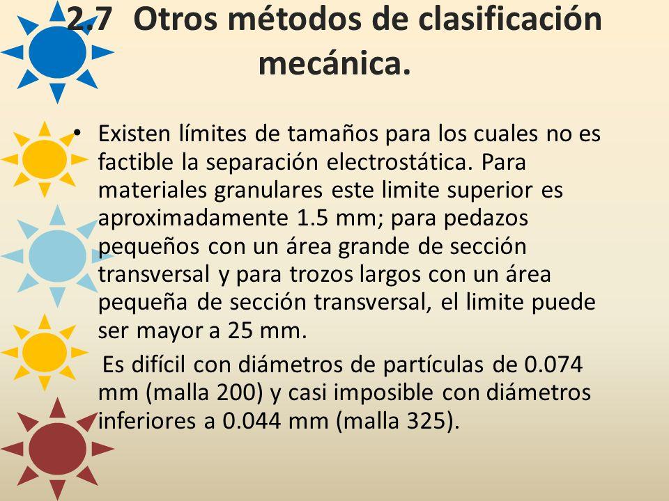 2.7Otros métodos de clasificación mecánica. Existen límites de tamaños para los cuales no es factible la separación electrostática. Para materiales gr