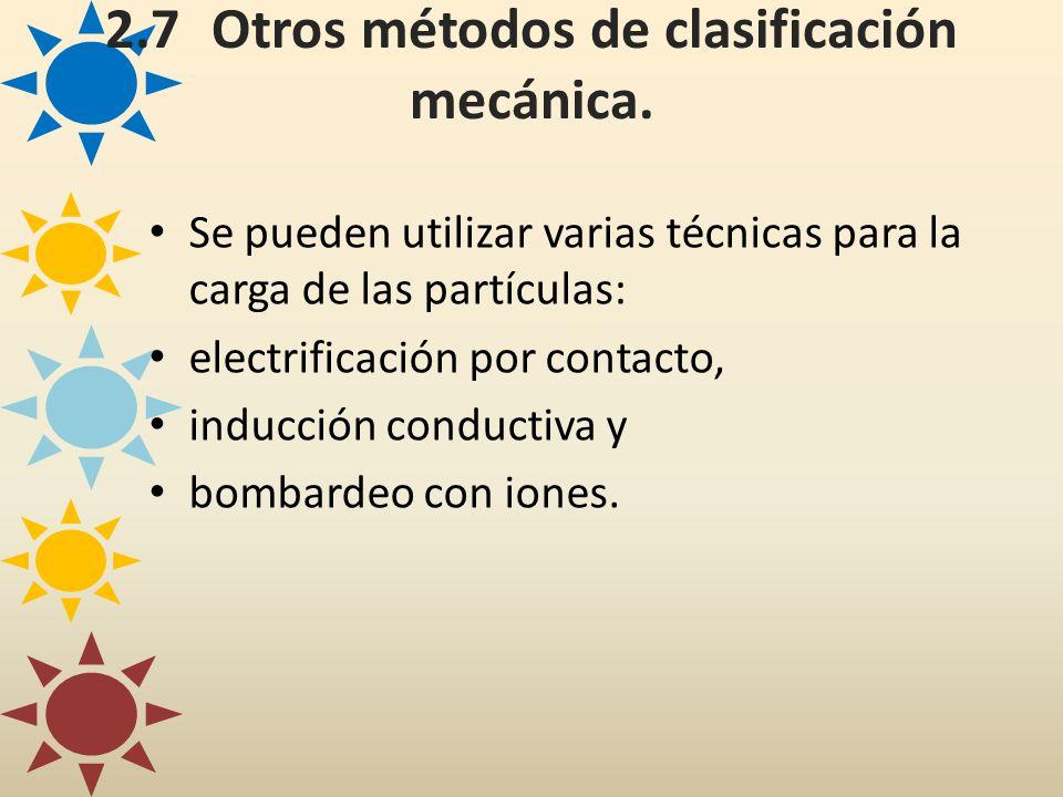 2.7Otros métodos de clasificación mecánica. Se pueden utilizar varias técnicas para la carga de las partículas: electrificación por contacto, inducció