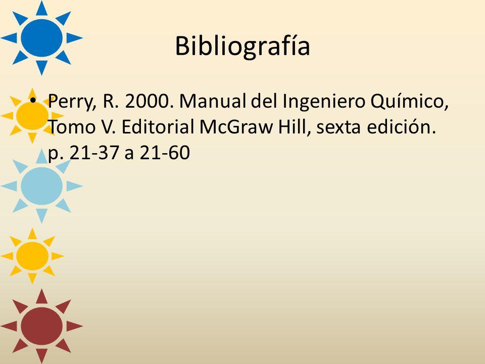 Bibliografía Perry, R. 2000. Manual del Ingeniero Químico, Tomo V. Editorial McGraw Hill, sexta edición. p. 21-37 a 21-60