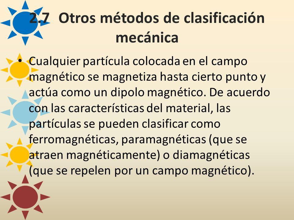 2.7Otros métodos de clasificación mecánica Cualquier partícula colocada en el campo magnético se magnetiza hasta cierto punto y actúa como un dipolo m
