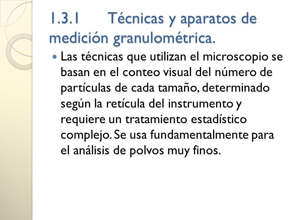 1.3.1Técnicas y aparatos de medición granulométrica. Las técnicas que utilizan el microscopio se basan en el conteo visual del número de partículas de