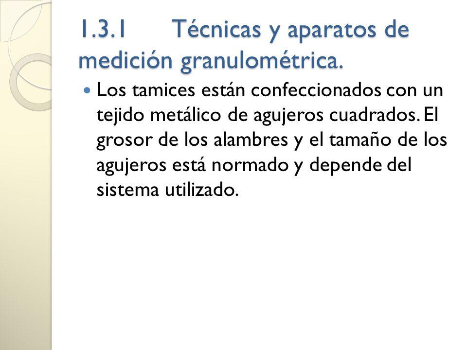 1.3.1Técnicas y aparatos de medición granulométrica. Los tamices están confeccionados con un tejido metálico de agujeros cuadrados. El grosor de los a