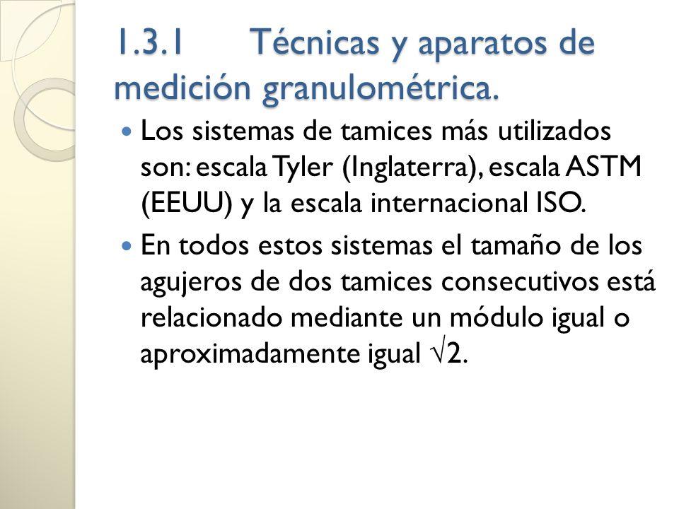 1.3.1Técnicas y aparatos de medición granulométrica. Los sistemas de tamices más utilizados son: escala Tyler (Inglaterra), escala ASTM (EEUU) y la es