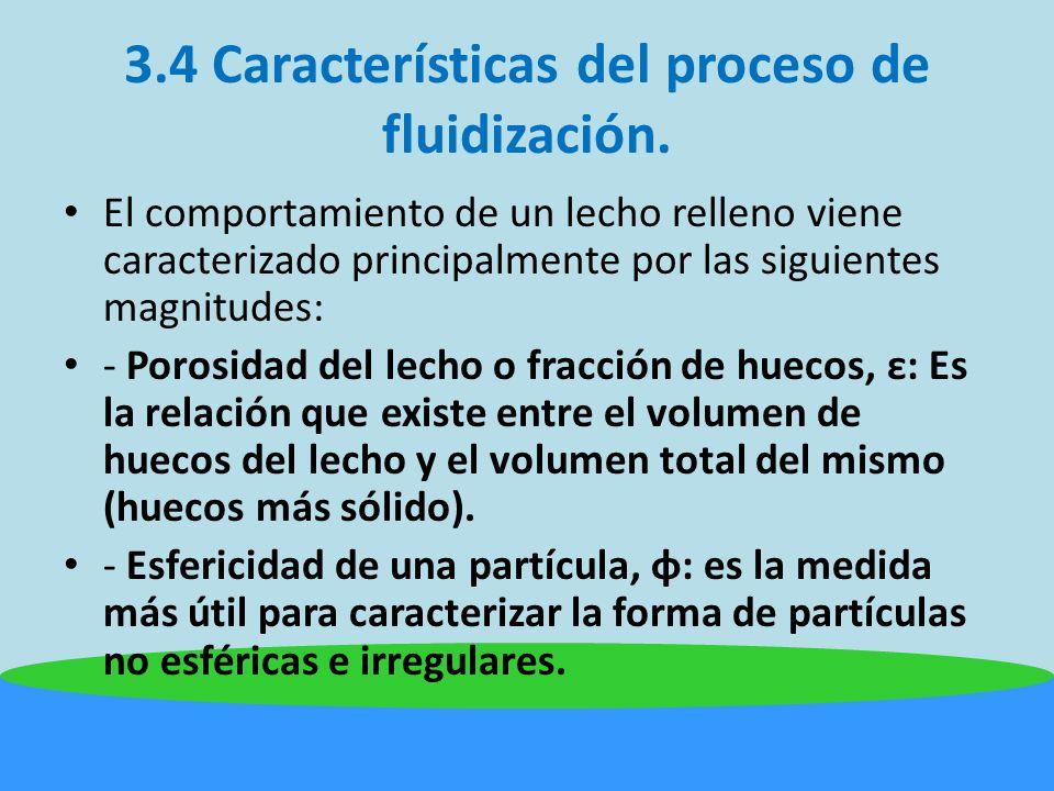 3.4 Características del proceso de fluidización.La fluidizacion puede ser particular o agregativa.