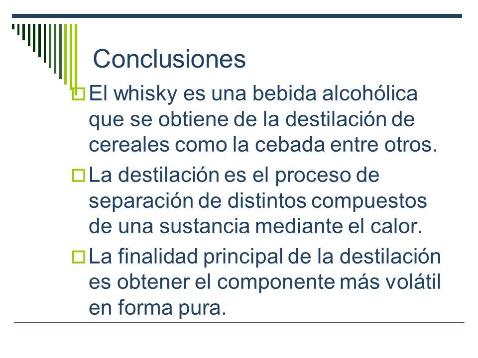 Conclusiones El whisky es una bebida alcohólica que se obtiene de la destilación de cereales como la cebada entre otros. La destilación es el proceso