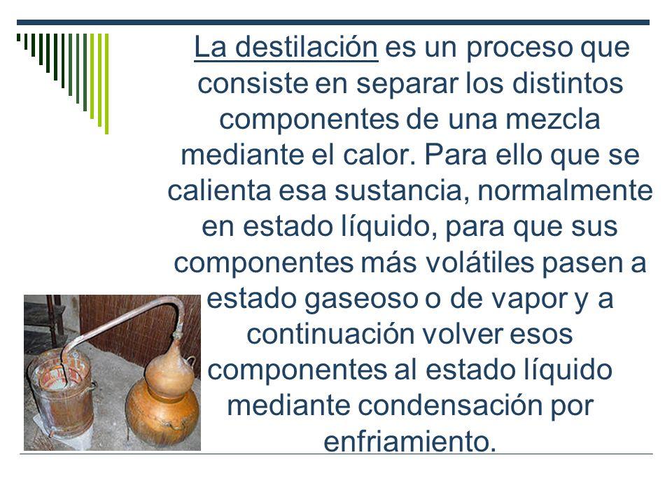 La destilación es un proceso que consiste en separar los distintos componentes de una mezcla mediante el calor. Para ello que se calienta esa sustanci