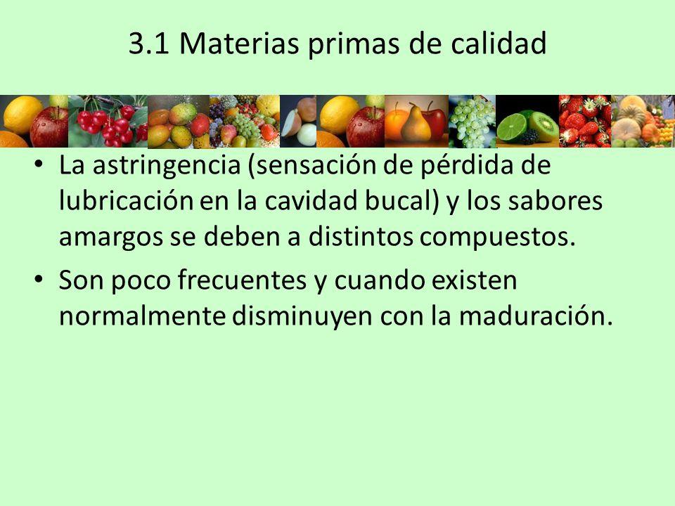 3.1 Materias primas de calidad La astringencia (sensación de pérdida de lubricación en la cavidad bucal) y los sabores amargos se deben a distintos co