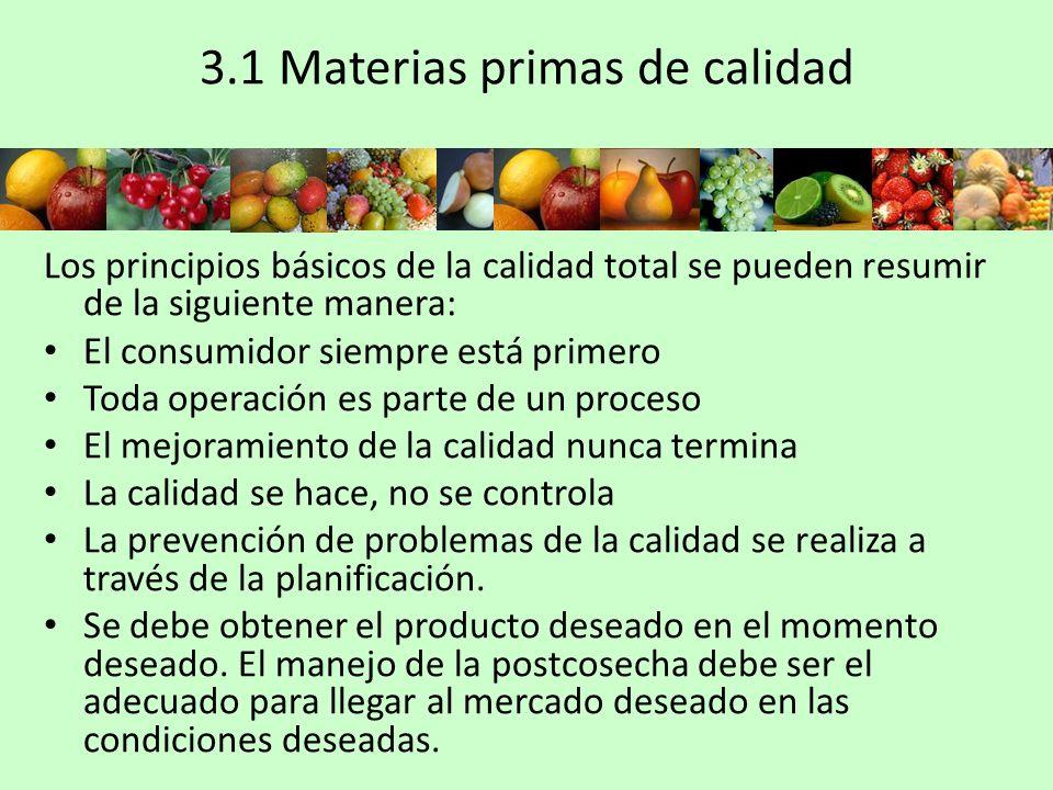 3.1 Materias primas de calidad Los principios básicos de la calidad total se pueden resumir de la siguiente manera: El consumidor siempre está primero