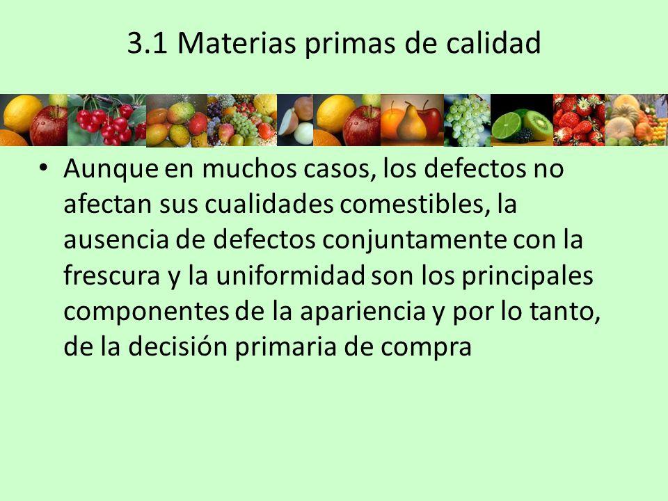 3.1 Materias primas de calidad Aunque en muchos casos, los defectos no afectan sus cualidades comestibles, la ausencia de defectos conjuntamente con l