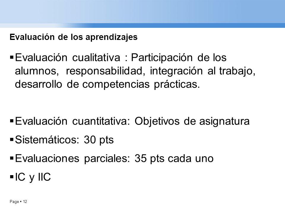 Page 12 Evaluación de los aprendizajes Evaluación cualitativa : Participación de los alumnos, responsabilidad, integración al trabajo, desarrollo de c
