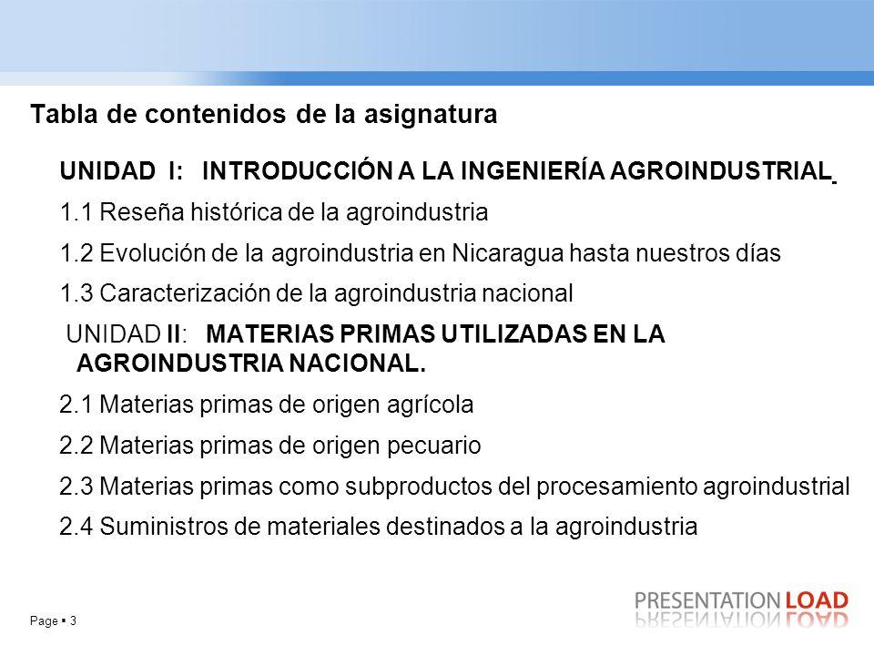 Page 3 Tabla de contenidos de la asignatura UNIDAD I: INTRODUCCIÓN A LA INGENIERÍA AGROINDUSTRIAL 1.1 Reseña histórica de la agroindustria 1.2 Evoluci