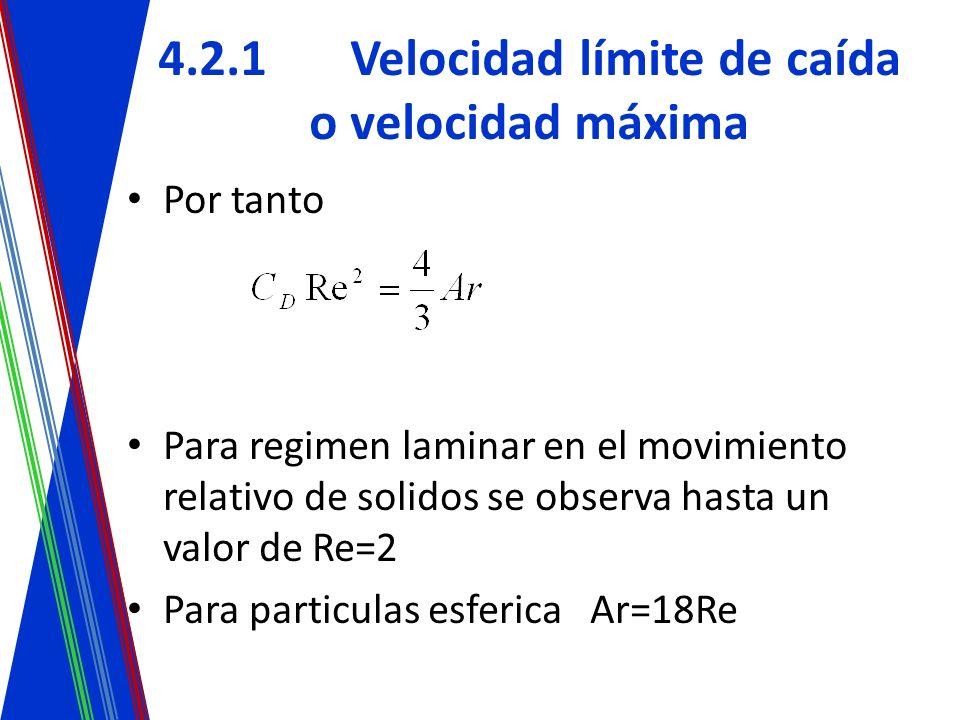 4.2.1Velocidad límite de caída o velocidad máxima Por tanto Para regimen laminar en el movimiento relativo de solidos se observa hasta un valor de Re=