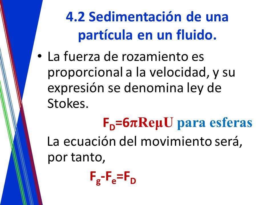4.2 Sedimentación de una partícula en un fluido. La fuerza de rozamiento es proporcional a la velocidad, y su expresión se denomina ley de Stokes. F D
