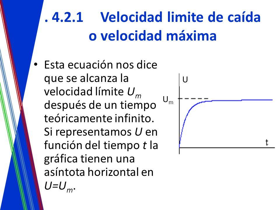 . 4.2.1Velocidad limite de caída o velocidad máxima Esta ecuación nos dice que se alcanza la velocidad límite U m después de un tiempo teóricamente in