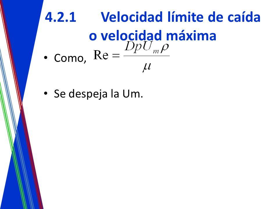 4.2.1Velocidad límite de caída o velocidad máxima Como, Se despeja la Um.