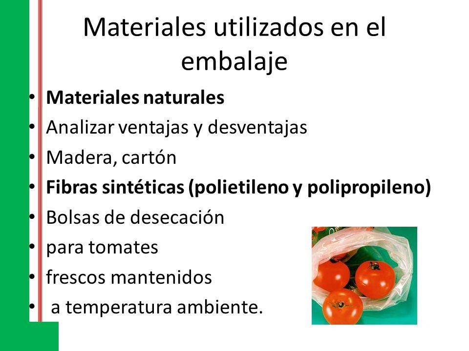 Materiales utilizados en el embalaje Materiales naturales Analizar ventajas y desventajas Madera, cartón Fibras sintéticas (polietileno y polipropilen