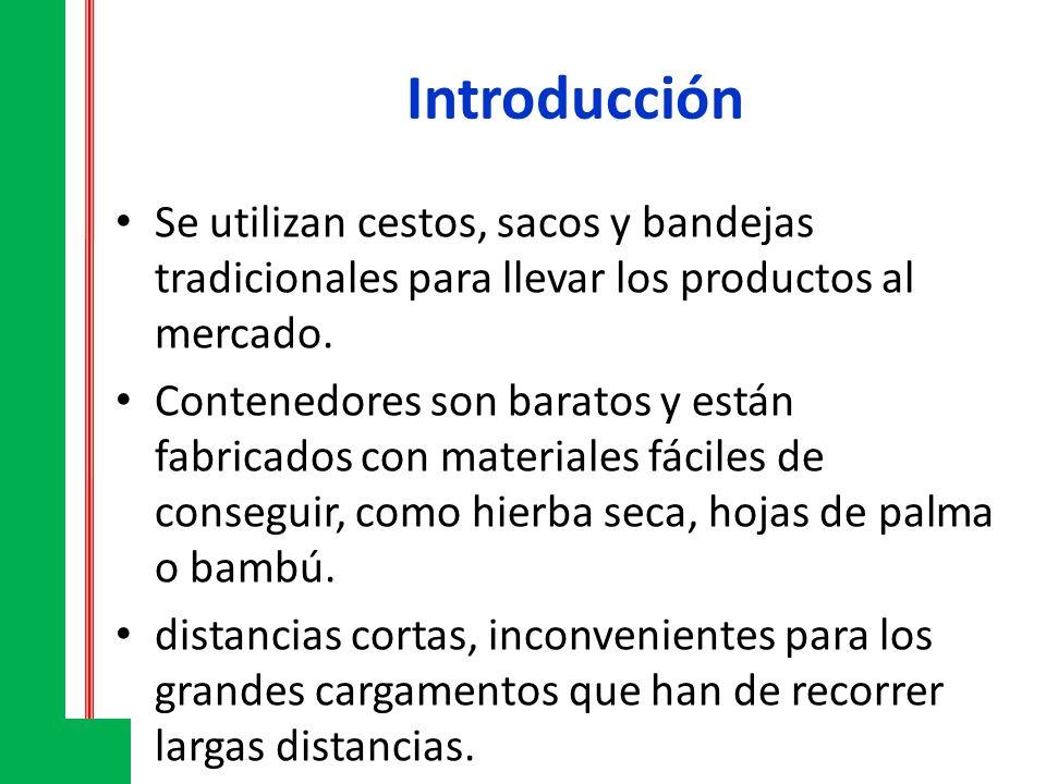 Introducción Se utilizan cestos, sacos y bandejas tradicionales para llevar los productos al mercado. Contenedores son baratos y están fabricados con