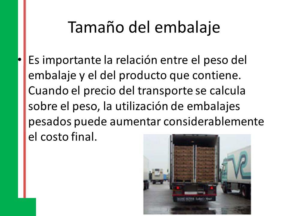 Tamaño del embalaje Es importante la relación entre el peso del embalaje y el del producto que contiene. Cuando el precio del transporte se calcula so