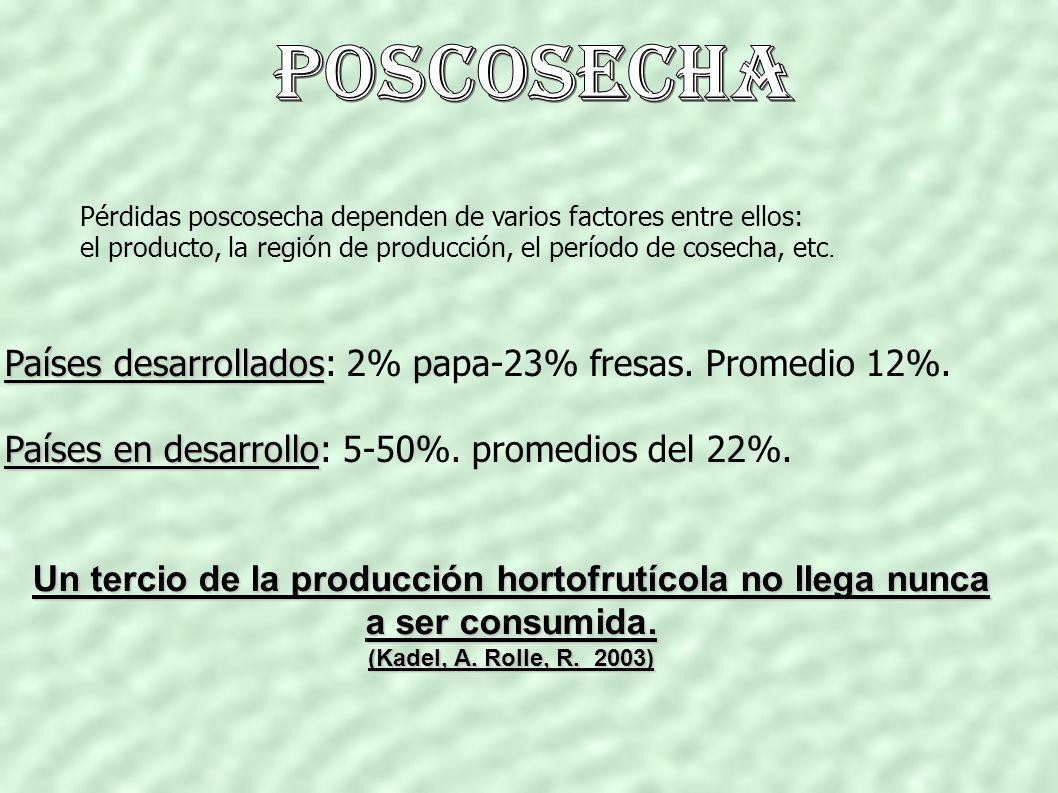 Pérdidas poscosecha dependen de varios factores entre ellos: el producto, la región de producción, el período de cosecha, etc.