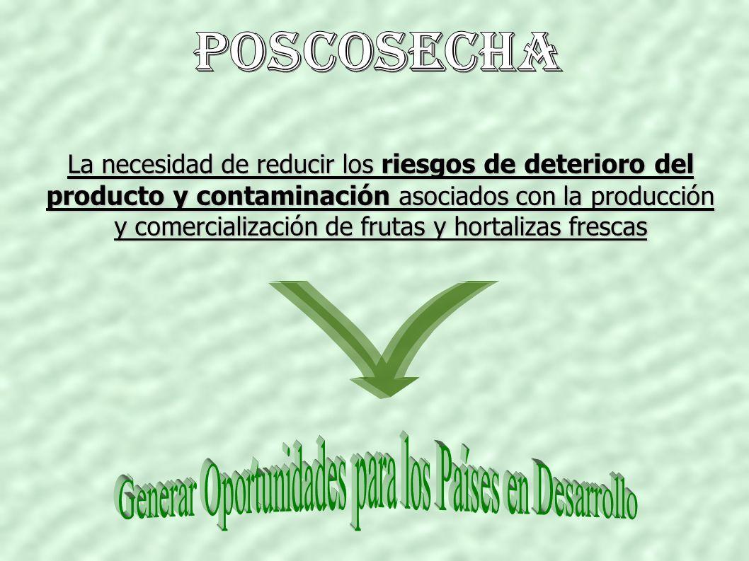 La necesidad de reducir los riesgos de deterioro del producto y contaminación asociados con la producción y comercialización de frutas y hortalizas frescas