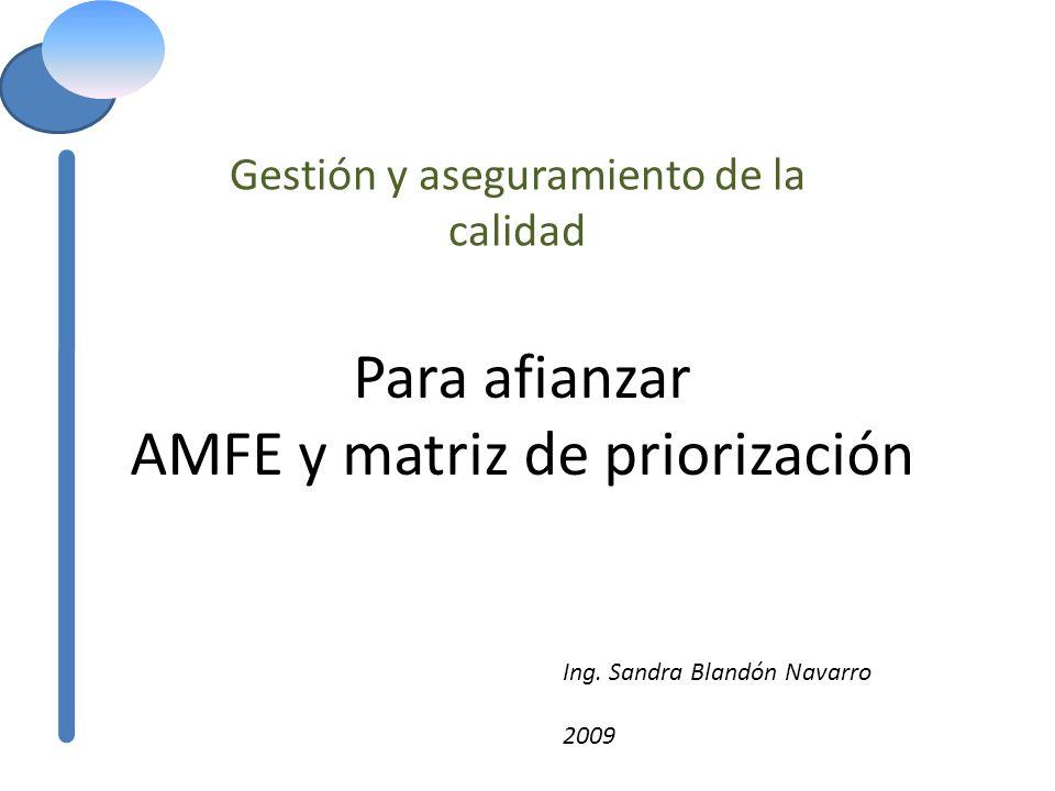 Para afianzar AMFE y matriz de priorización Gestión y aseguramiento de la calidad Ing. Sandra Blandón Navarro 2009