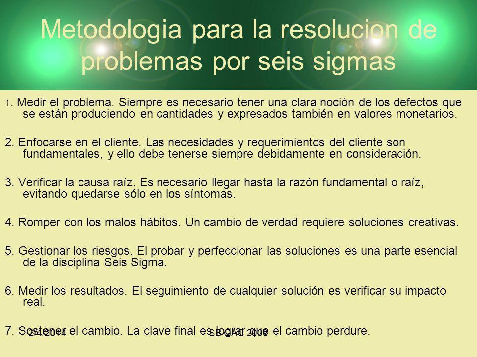 2/4/2014SB GAC 2009 Metodologia para la resolucion de problemas por seis sigmas 1. Medir el problema. Siempre es necesario tener una clara noción de l