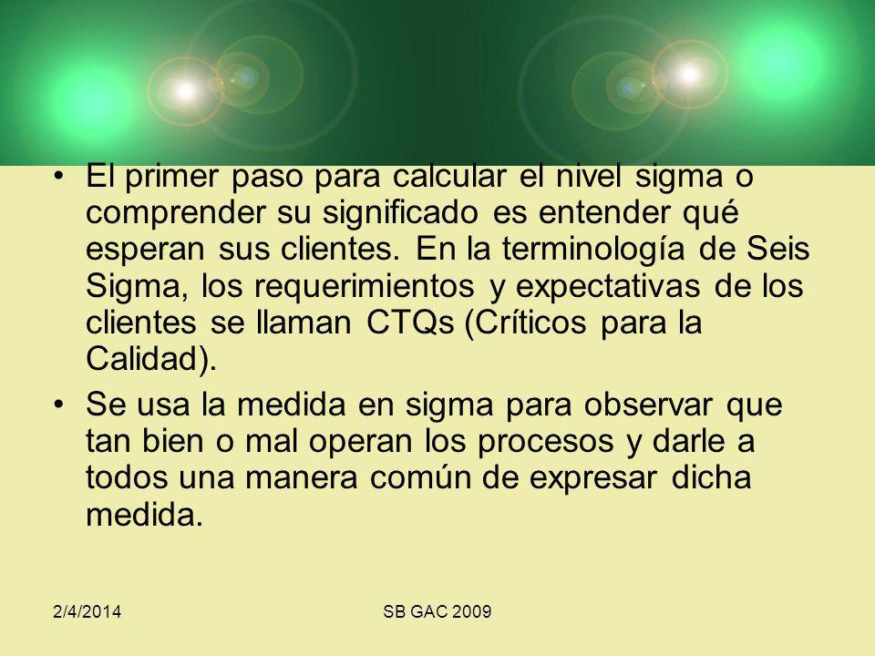 2/4/2014SB GAC 2009 El primer paso para calcular el nivel sigma o comprender su significado es entender qué esperan sus clientes. En la terminología d