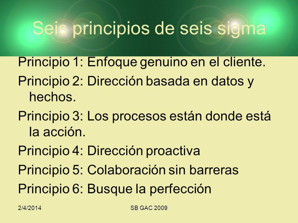 2/4/2014SB GAC 2009 Seis principios de seis sigma Principio 1: Enfoque genuino en el cliente. Principio 2: Dirección basada en datos y hechos. Princip