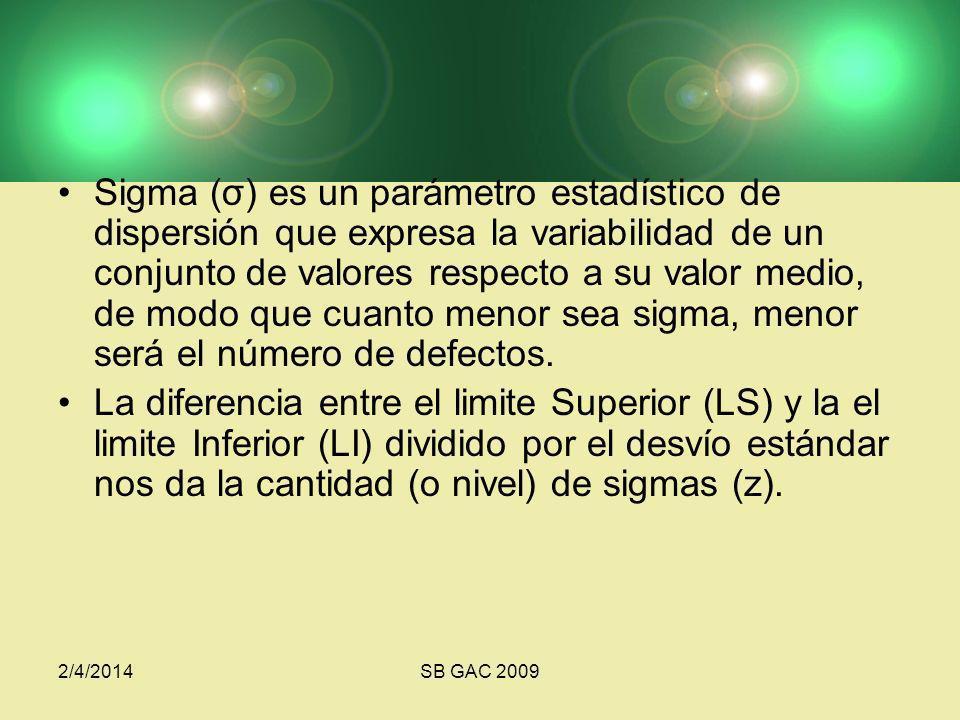 2/4/2014SB GAC 2009 Sigma (σ) es un parámetro estadístico de dispersión que expresa la variabilidad de un conjunto de valores respecto a su valor medio, de modo que cuanto menor sea sigma, menor será el número de defectos.