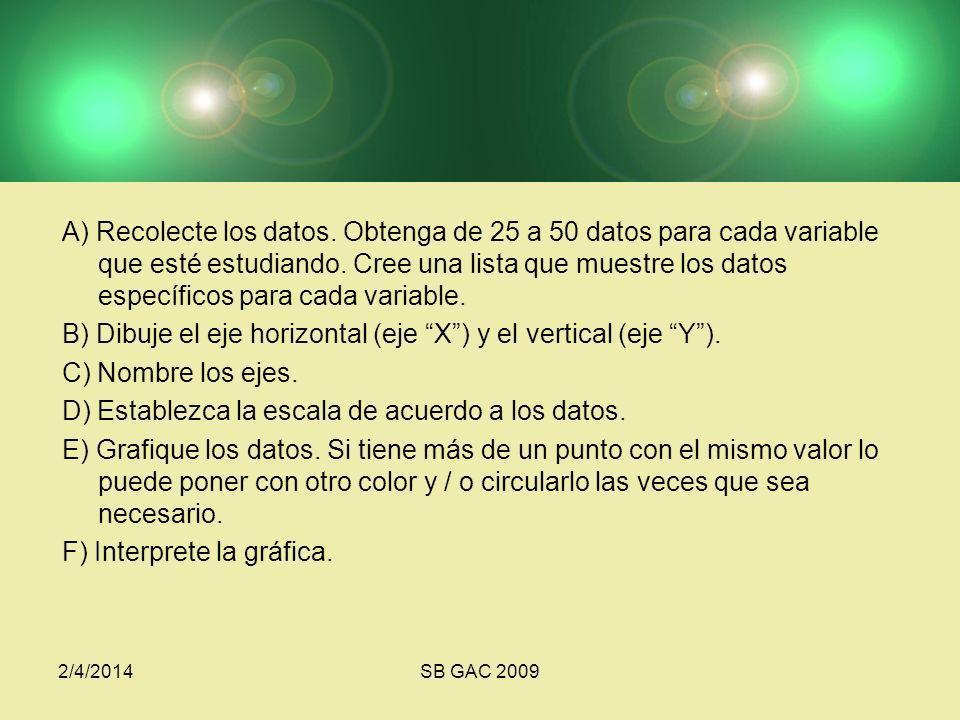 A) Recolecte los datos.Obtenga de 25 a 50 datos para cada variable que esté estudiando.