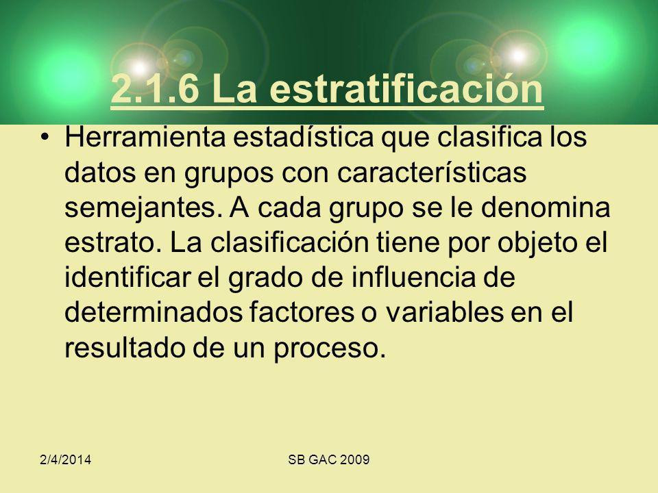 2/4/2014SB GAC 2009 2.1.6 La estratificación Herramienta estadística que clasifica los datos en grupos con características semejantes. A cada grupo se