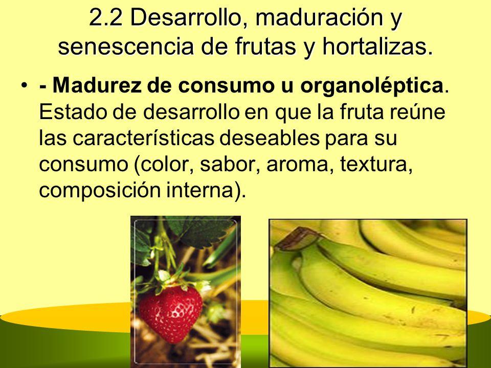 2.2 Desarrollo, maduración y senescencia de frutas y hortalizas. - Madurez de consumo u organoléptica. Estado de desarrollo en que la fruta reúne las