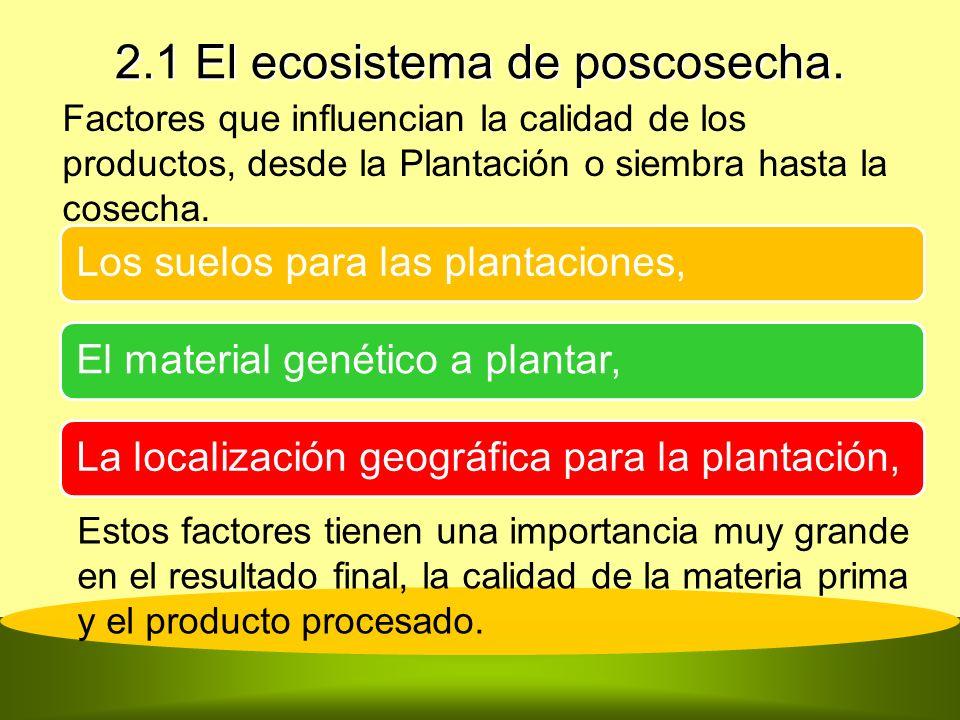 2.1 El ecosistema de poscosecha. Los suelos para las plantaciones,El material genético a plantar,La localización geográfica para la plantación, Estos