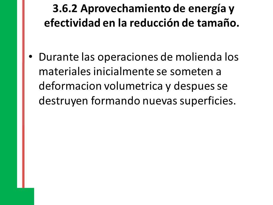 3.6.2 Aprovechamiento de energía y efectividad en la reducción de tamaño. Durante las operaciones de molienda los materiales inicialmente se someten a