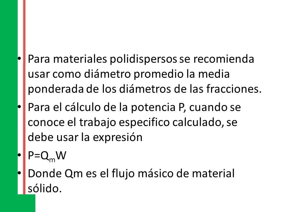 Para materiales polidispersos se recomienda usar como diámetro promedio la media ponderada de los diámetros de las fracciones. Para el cálculo de la p