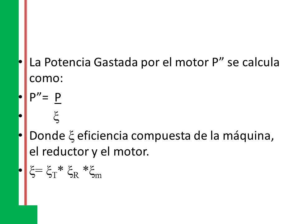 La Potencia Gastada por el motor P se calcula como: P= P ξ Donde ξ eficiencia compuesta de la máquina, el reductor y el motor. ξ= ξ T * ξ R *ξ m