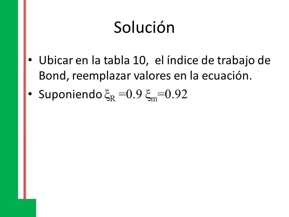 Solución Ubicar en la tabla 10, el índice de trabajo de Bond, reemplazar valores en la ecuación. Suponiendo ξ R =0.9 ξ m =0.92