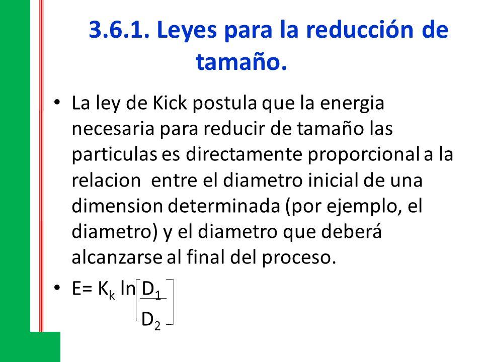 3.6.1. Leyes para la reducción de tamaño. La ley de Kick postula que la energia necesaria para reducir de tamaño las particulas es directamente propor
