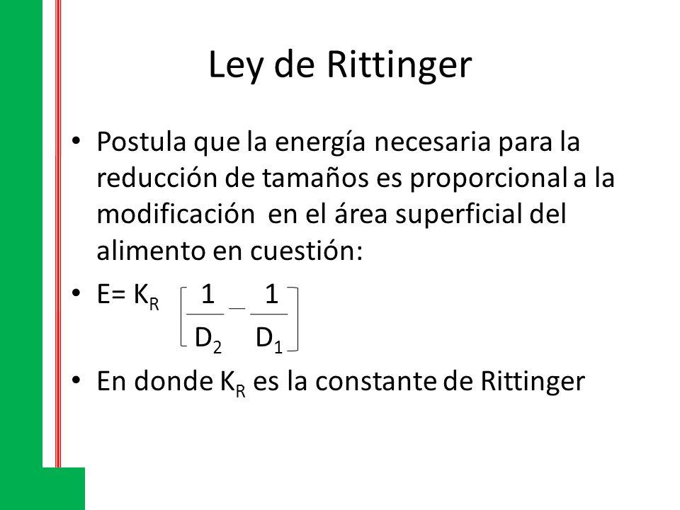 Ley de Rittinger Postula que la energía necesaria para la reducción de tamaños es proporcional a la modificación en el área superficial del alimento e