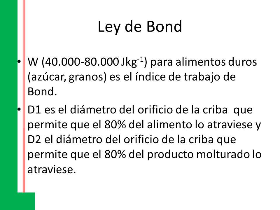 Ley de Bond W (40.000-80.000 Jkg -1 ) para alimentos duros (azúcar, granos) es el índice de trabajo de Bond. D1 es el diámetro del orificio de la crib
