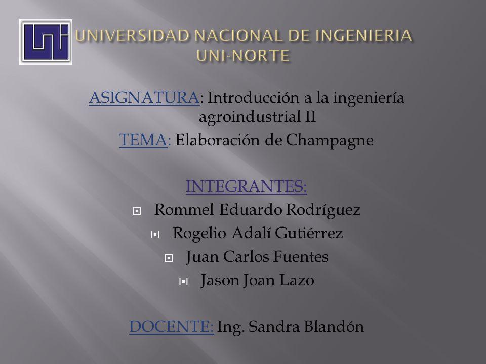 ASIGNATURA: Introducción a la ingeniería agroindustrial II TEMA: Elaboración de Champagne INTEGRANTES: Rommel Eduardo Rodríguez Rogelio Adalí Gutiérre