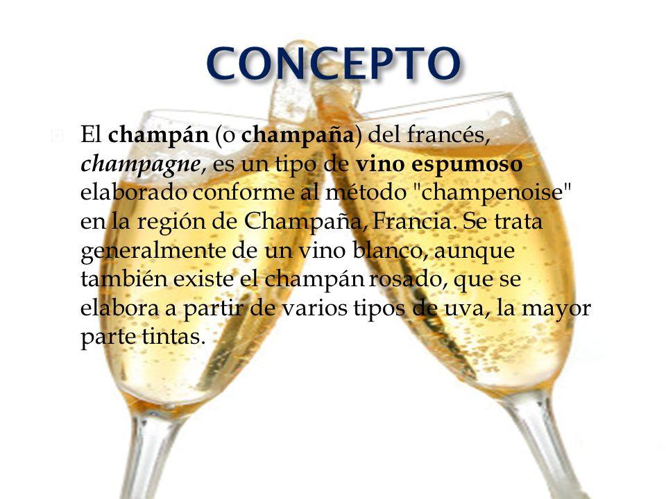 El champán (o champaña ) del francés, champagne, es un tipo de vino espumoso elaborado conforme al método
