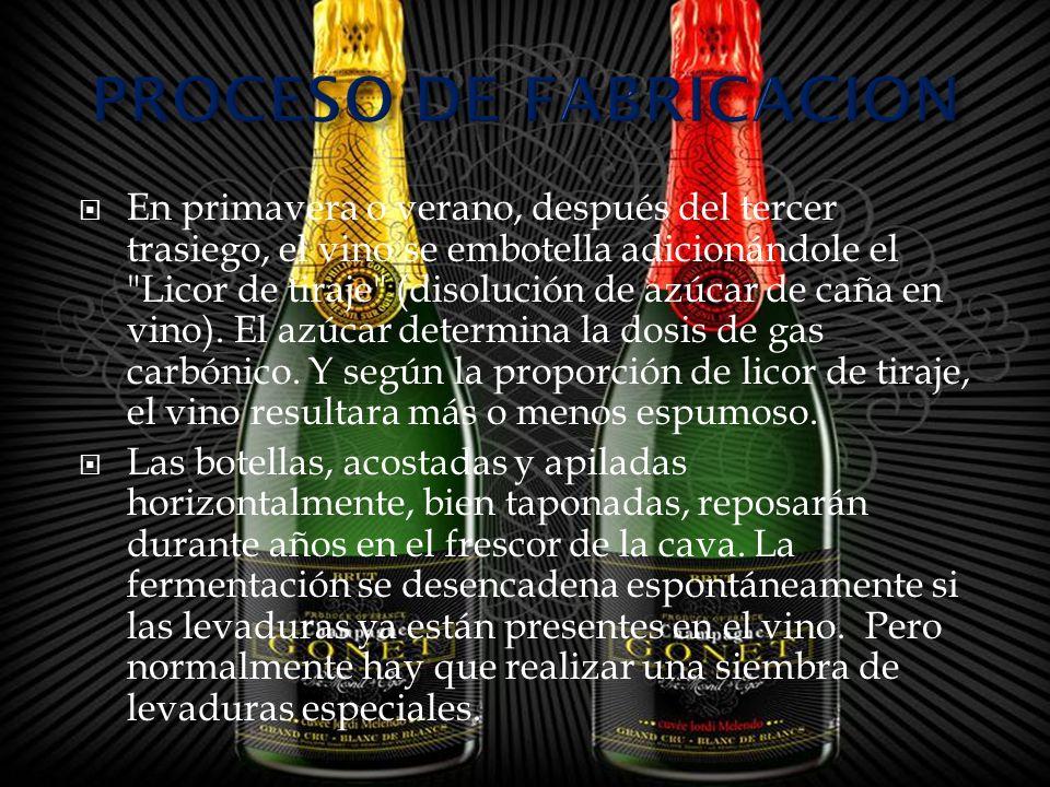 El proceso fermentativo aumenta en un grado el contenido alcohólico del vino y genera el anhídrido carbónico que vivifica al champagne con fresca y agradable espuma.