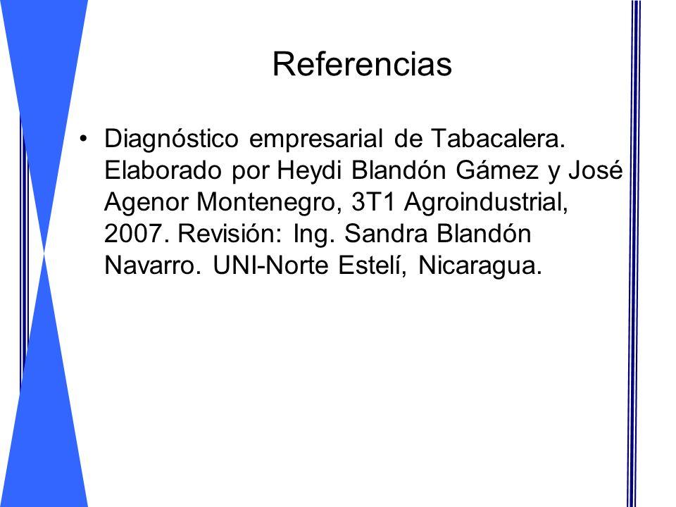 Referencias Diagnóstico empresarial de Tabacalera. Elaborado por Heydi Blandón Gámez y José Agenor Montenegro, 3T1 Agroindustrial, 2007. Revisión: Ing