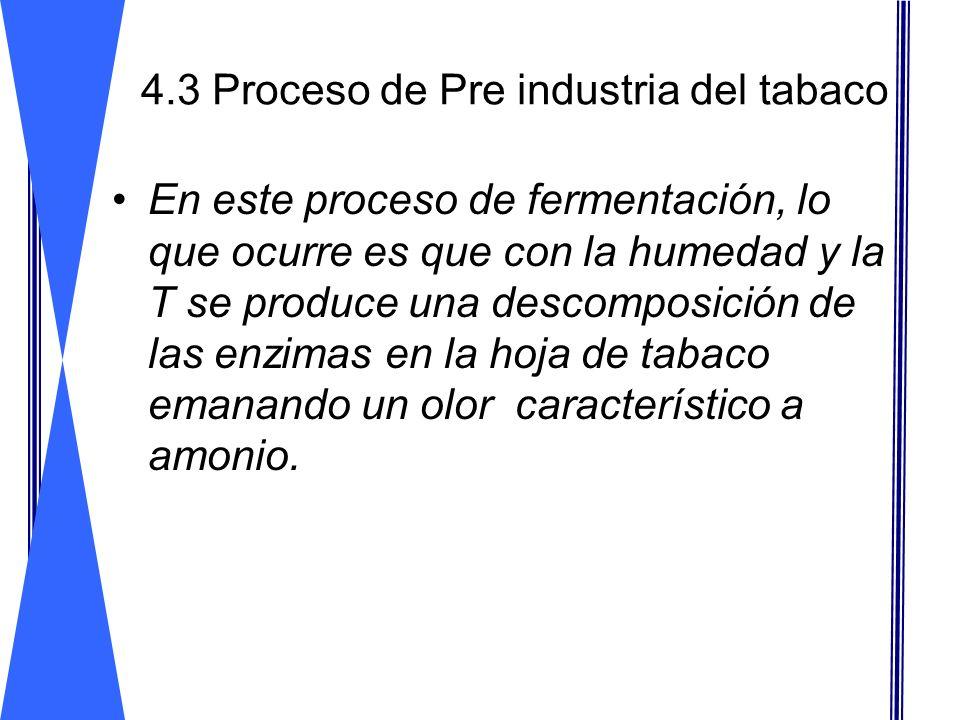4.3 Proceso de Pre industria del tabaco En este proceso de fermentación, lo que ocurre es que con la humedad y la T se produce una descomposición de l
